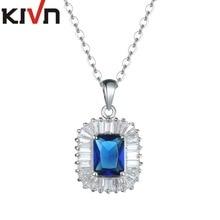 KIVN Fashion Jewelry Blue CZ Cubic Zirconia Womens Girls Wedding Bridal Pendants Necklaces Christmas Promotion Birthday Gifts