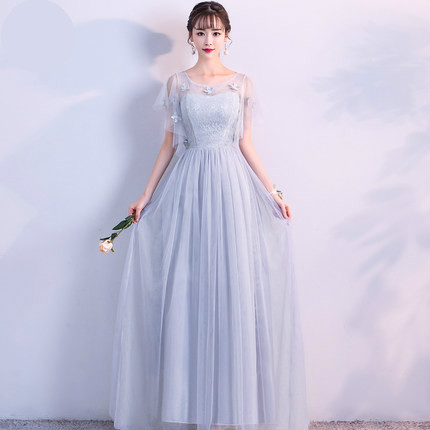 Sweet Memory Long Gray Bridesmaid Dresses Bride Sister Graduation Dress  Guests Wedding Party Dress S850 Size a3c7e3932ebd