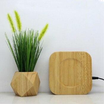 Pot de fleur en bois magnétique lévitation pot de fleurs à domicile décoration Fleur Pot ions Négatifs purifier l'air flottant pots avec plante artificielle 1