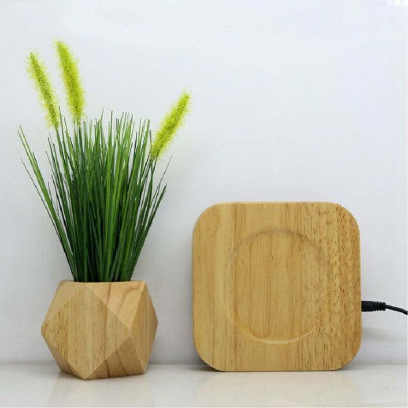 Wooden <font><b>magnetic</b></font> levitation flowerpot home decoration <font><b>Flower</b></font> <font><b>Pot</b></font> Negative ions purify the air floating <font><b>pots</b></font> with artificial plant image