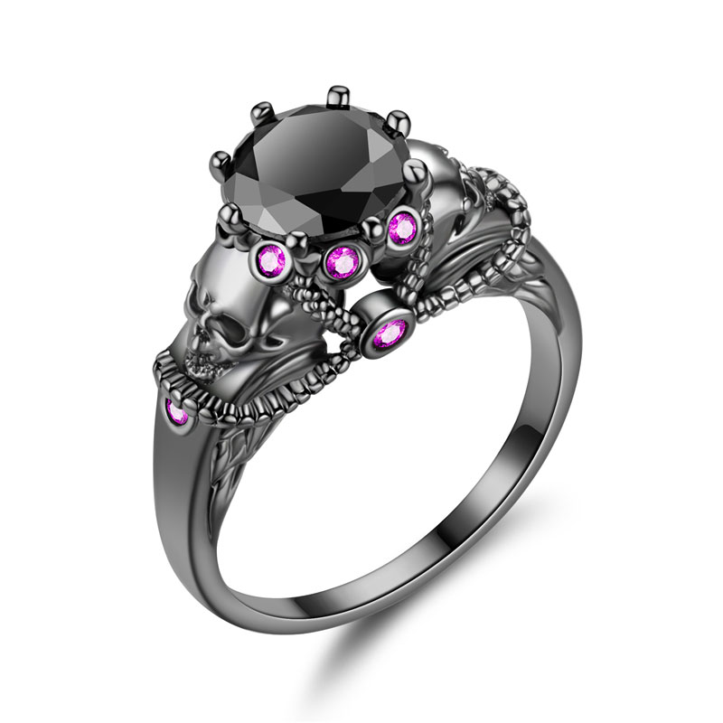 Vintage Black Color Skull Women Zircon Ring Fashion  head Ring Jewelry Punk Rings Women Birthday Gifts 1