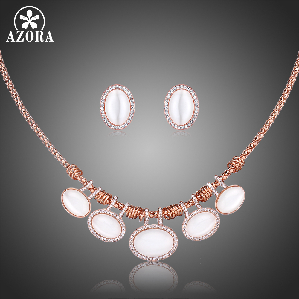 AZORA Rose Gold Color Women Jewelry Set Oval Cat's Eye Stone Stud Earrings Necklaces Set Female Clear Rhinestone Jewelry TG0251 pair of stylish rhinestone triangle stud earrings for women