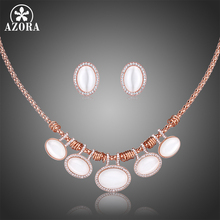 AZORA Rose Gold Color Women Jewelry Set Oval Cats Eye Stone Stud Earrings Necklaces Set Female Clear Rhinestone Jewelry TG0251