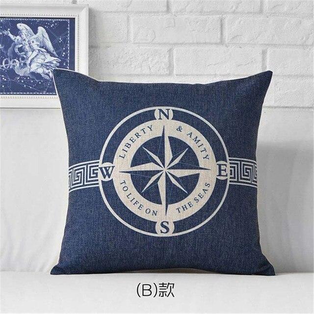 Coussin ScandinaOcean Mare Nave di Ancoraggio Blu Della Banda Bussola Barca Fodere per Cuscini di Cotone di Tela Coperture per Cuscini Divano di Casa Decoter Cojines