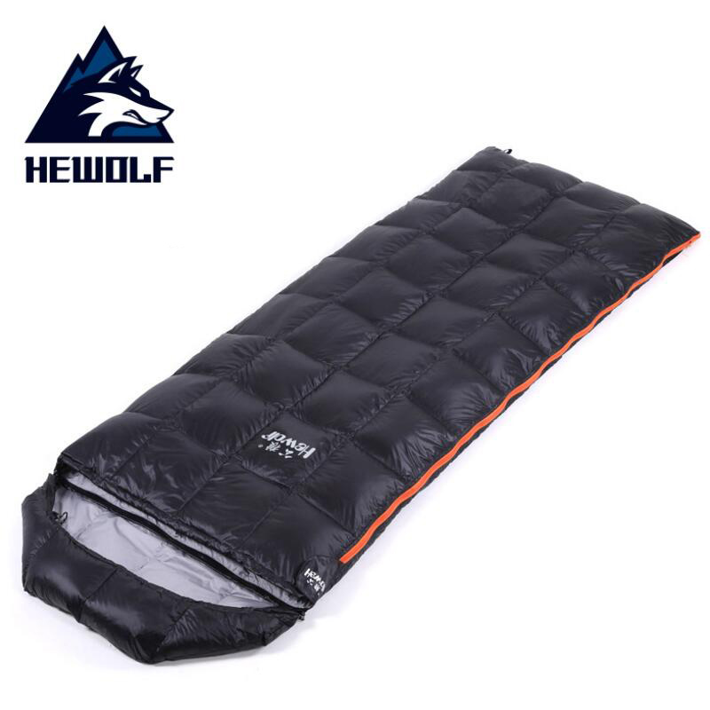 Hewolf Outdoor Camping Fill 400G Duck Down Sleeping Bag Adult Lightweight Waterproof Envelope Hiking Ultralight Sleeping Bag