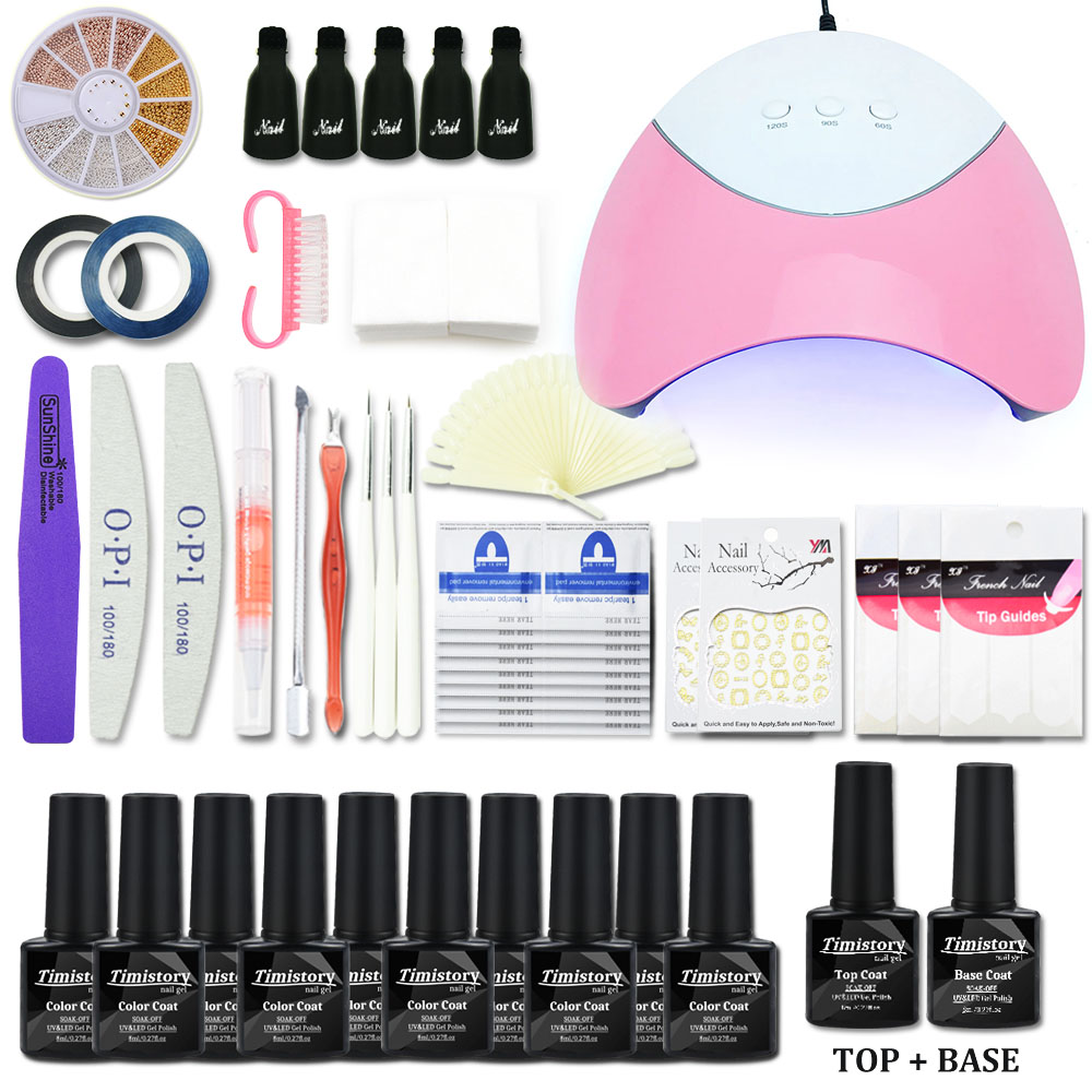 Nail Art Manicure Set 6w 36w Uv Led Lamp Dryer 10 Color Gel Polish Kit Tool Varnish Lacquer Tools