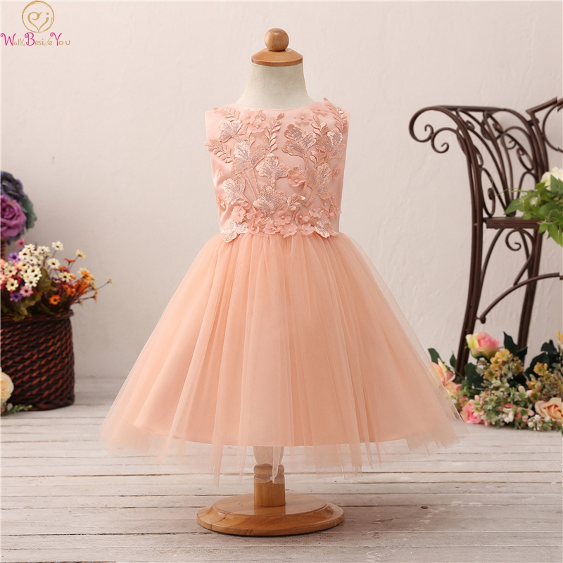 Tea Length Ball Gown   Flower     Girls     Dresses   For Wedding 2019 New Appliques   Flowers   With Big Bow Back First Communion vestido Gowns