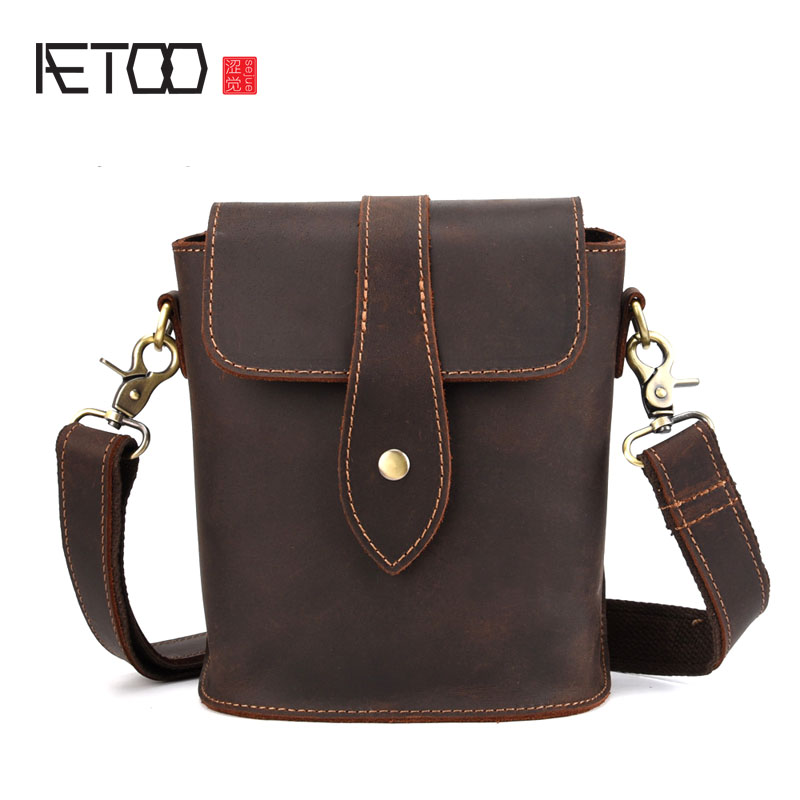 AETOO Shoulder bag casual diagonal bag small bag new crazy horse leather leather men s bag