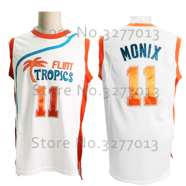 2017 Throwback Basketball Jerseys Flint Tropics Semi Pro  11 Ed Monix Movie  Jersey White Green Stitched Retro Basketball Jersey 2c18cba7f