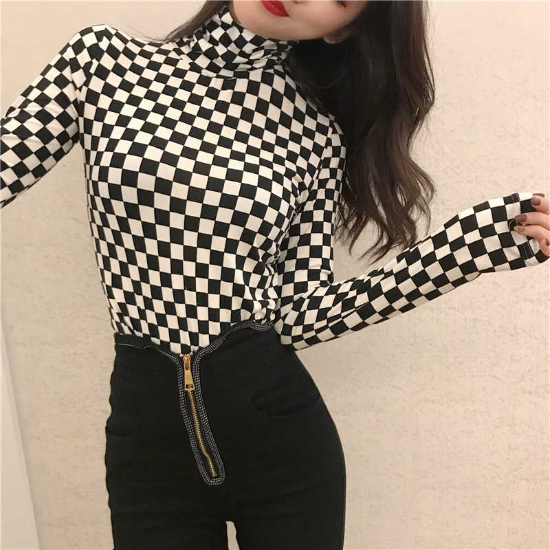 2019 New Arrival Women Clothing Korean Women Elegant Vintage Female Shirt Plaid Long Sleeve Black White Turtleneck OL Blouse