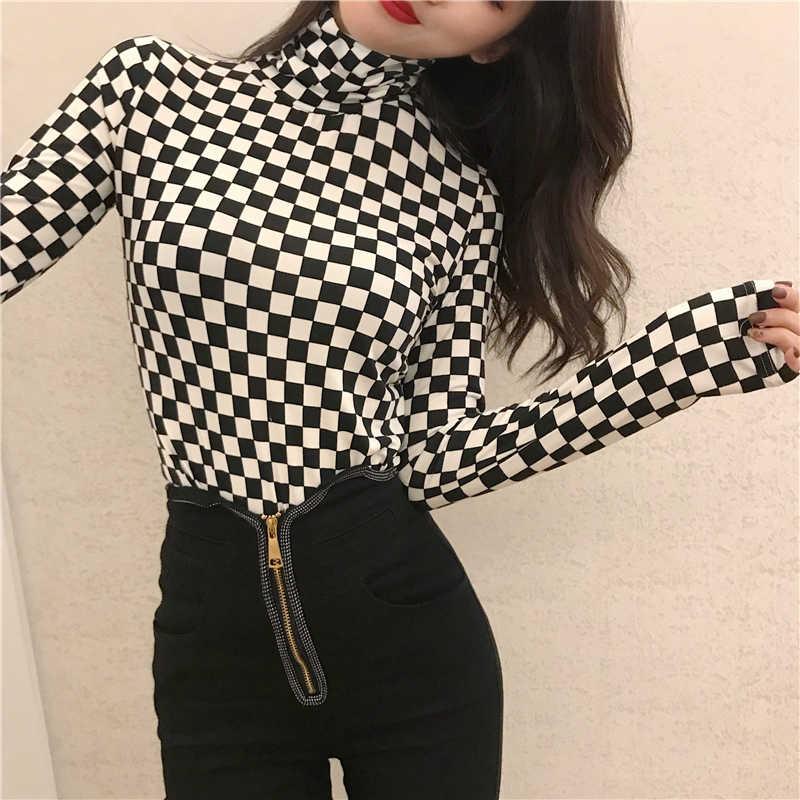 2019 Новое поступление Женская одежда корейская женская элегантная винтажная женская рубашка в клетку с длинным рукавом черная белая водолазка OL Блузка