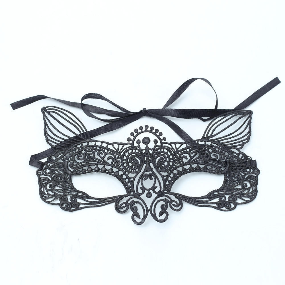 Masquerade mask masquerade mask vine mask metal lace masquerade - Fashion Black Cat Masquerade Mask Exquisite Feather Decor Elegant Mask With Two Strap Wedding Party Prom
