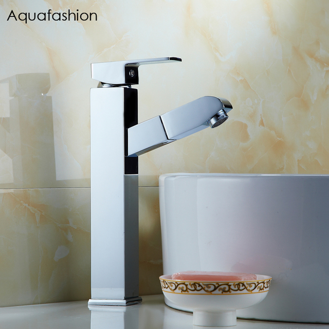 Luxury Polished Chrome Bathroom Faucet Pull Out Spray Basin Mixer ...