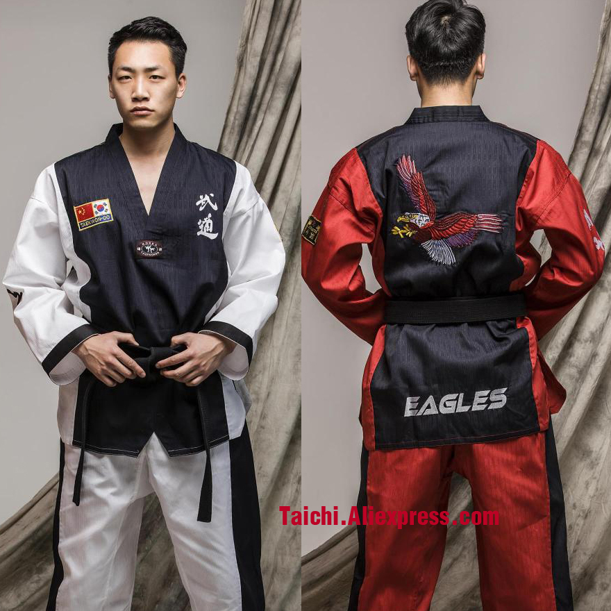 Martial Arts TKD Tae Kwon Do V-neck Adult & Children Taekwondo Clothes For Poomsae & Training,WTF Uniform,160-190cm  White/red