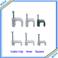 Free Sgipping Good Quality 500 pcs a Lot  Flat /Square 4mm Cable Use Clip Cable Clips 4mm Cable Clip