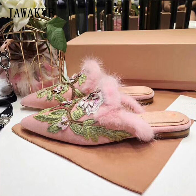 2018 luxury Velvet Fur Slippers Woman Pointed Toe Flower Embroidery Flat Shoes Woman Mules Lady Fashion Sandals insect embroidery flat mules