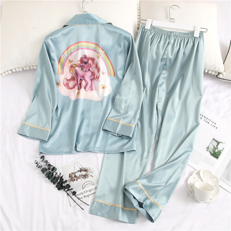 2019 Printing Fashion Woman Sexy Ice Silk Long Sleeve Trousers Twinset Pajamas Summer Cardigan Thin Section Sleepwear