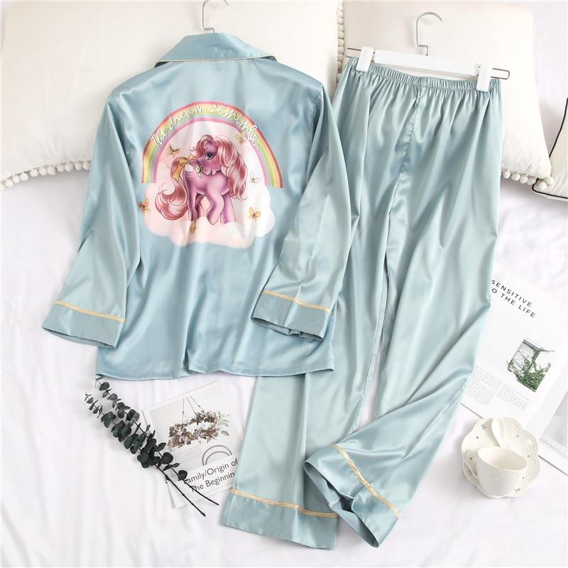2019 Printing Fashion Woman Sexy Ice Silk Long Sleeve Trousers Twinset Pajamas Summer Cardigan Thin Section Sleepwear