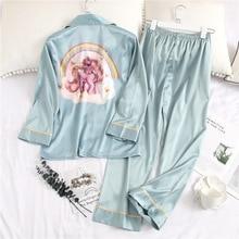 Pijama feminino sexy de seda e estampa, calças femininas manga comprida, pijamas de verão, casaco fino, roupa de dormir, 2019