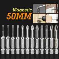 Meigar 12 stücke 50mm 1/4 Zoll Hex Schaft Magnetische S2 Legierung Stahl Lange Magnetische Kreuz Kreuzschlitz-schraubendreher Bits Set für Lösen Sie die Schrauben