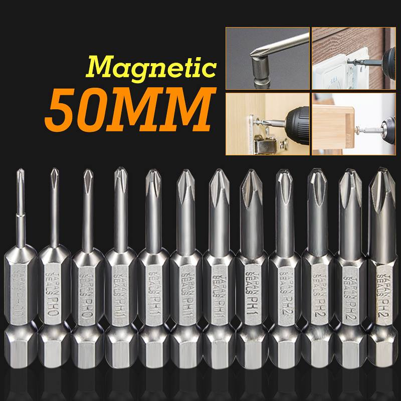 Meigar 12pcs 50mm 1/4 Inch Hex Shank Magnetic S2 Alloy Steel Long Magnetic Cross Phillips Screwdriver Bits Set For Loosen Screws