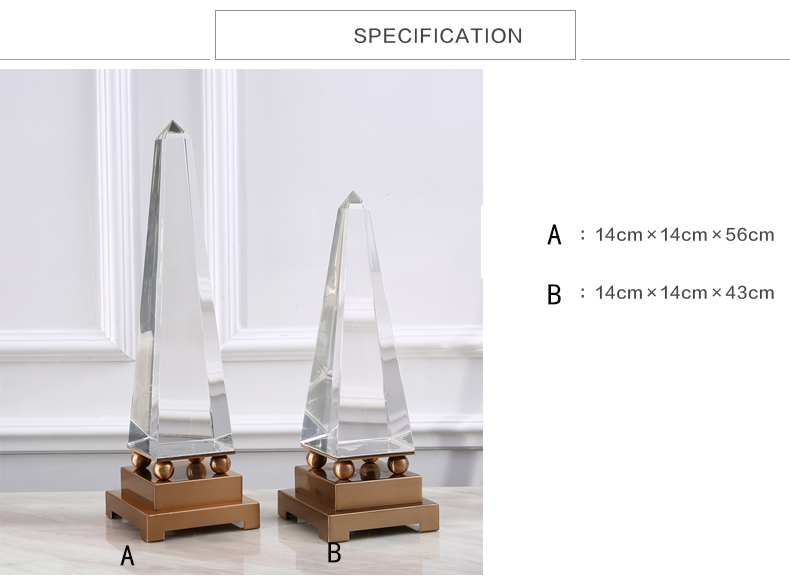 Lexus High 56cm Triangular Pyramid Crystal Sculpture Modern Home Decor Figurine Metal Statue For Office Home Decor Accessories