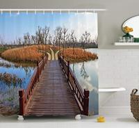 House Decor Shower Curtain Set, Wetland in Kunming Deck Tourism Travel Clear Sky Hiking Fall Scene, Bathroom Decor