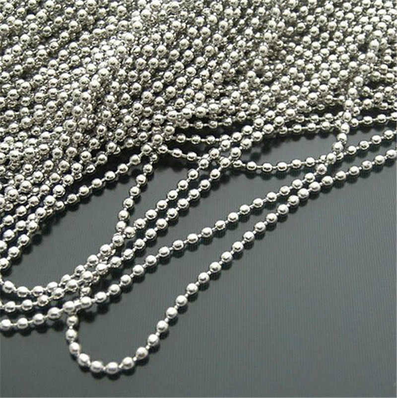10 piece/lot Silver Tone Ball Chains 60CM 2.4MM Stainless Steel Findings Necklace Bracelet Beads Men Women Jewelry Accessories