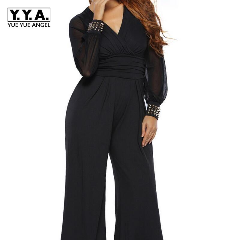 Hot Sales Long Sleeve Rivet Design Sexy Ladies Deep V Neck Chiffon Rompers Women Jumpsuits Black Color Fashion Plus Size