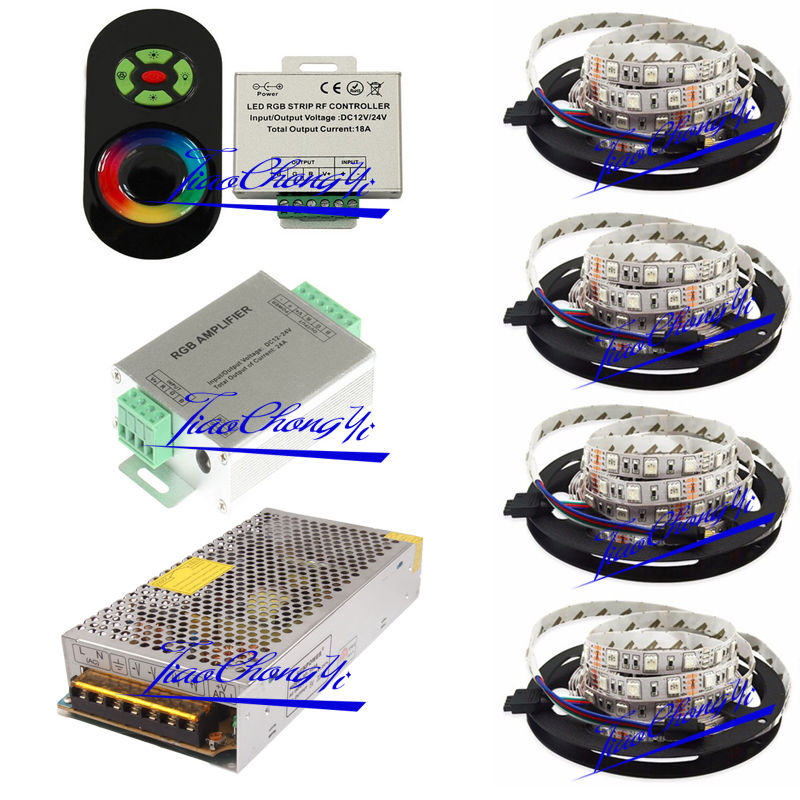 цена на 20M 5050 RGB LED strip light IP20 + 18A Touch controller+ Amplifier+ 20A power