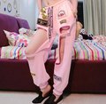 2015 women black pink hiphop Hollow pants girl female singer DS DJ jazz dance HIP-HOP street stage performance trouser wear