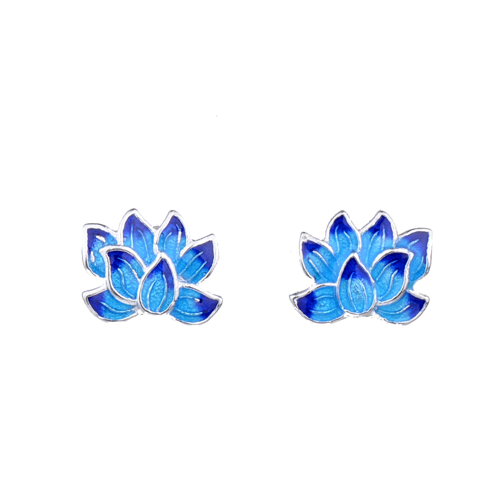 Mythic Age Unique Silver Plated Small Ethnic Enamel Lotus Flower