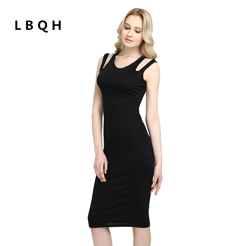LBQH 2017 summer ladies fashion sexy sleeveless brand dresses high quality cold shoulder top women's solid color knitted dress