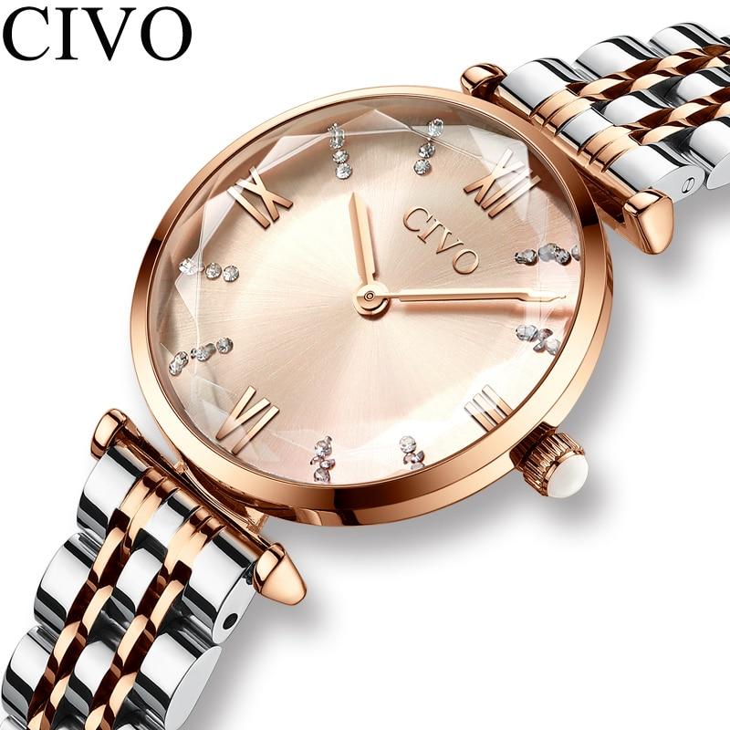 CIVO luksusowy kryształ zegarek kobiety wodoodporny stal z różowego złota pasek zegarki damskie Top marka zegarek z paskiem Relogio Feminino 1