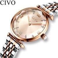 CIVO Роскошные хрустальные часы женские водонепроницаемые часы из розового золота с стальным ремешком женские наручные часы лучший бренд бр...