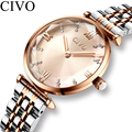 CIVO Luxus Kristall Uhr Frauen Wasserdicht Rose Gold Stahl Strap Damen Handgelenk Uhren Top Marke Armband Uhr Relogio Feminino|Damenuhren|   -