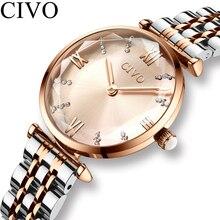 CIVO lüks kristal saat kadın su geçirmez gül altın çelik kayış bayanlar bilek saatler üst marka bilezik saat Relogio Feminino