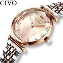 CIVO luksusowy kryształ zegarek kobiety wodoodporny stal z różowego złota pasek panie zegarki Top marka zegarek z paskiem Relogio Feminino