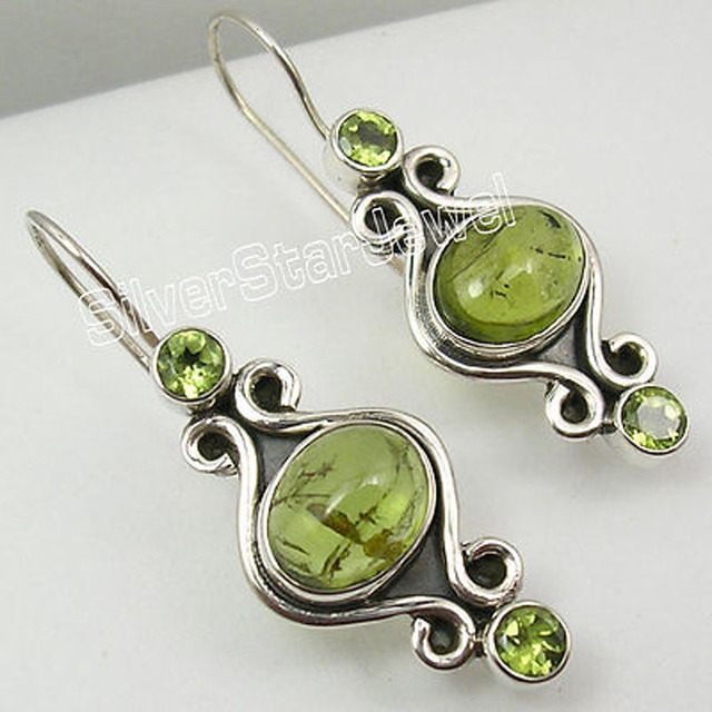 Silver Unseen PERIDOT 3 STONE GORGEOUS Dangle Earrings 1 1/2 inches