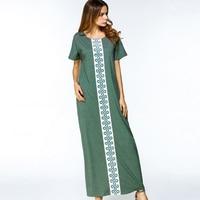 2018 Casual Maxi Dress Women Muslim Abaya O Neck Long Dress Print Long Sleeve Loose Middle