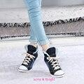 Ladies Blue Denim Warm Plush Winter Canvas Shoes High Heels Lace-up Fashion Casual Jean Shoes