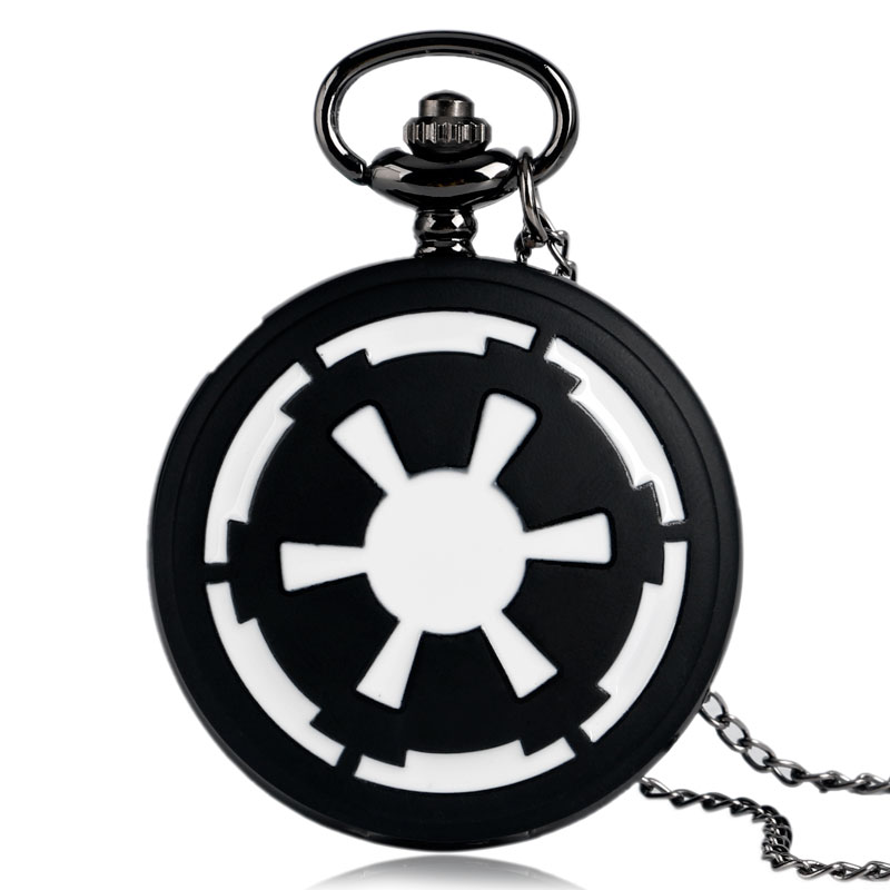 Galactic Empire Badge  Black Pocket Watch Star Wars Modern Fashion Necklace Pendant Chian Full Hunter Men Boys Kids Xmas Gifts