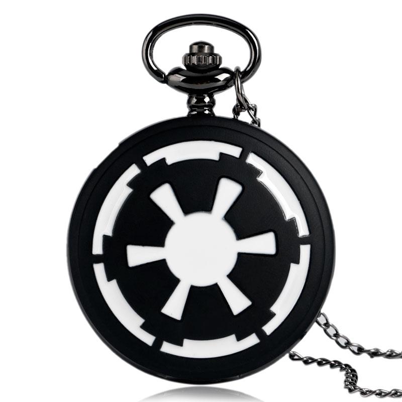 Galactic Empire Badge  Black Pocket Watch Star Wars Modern Fashion Necklace Pendant Chian Full Hunter Men Boys Kids Xmas Gifts