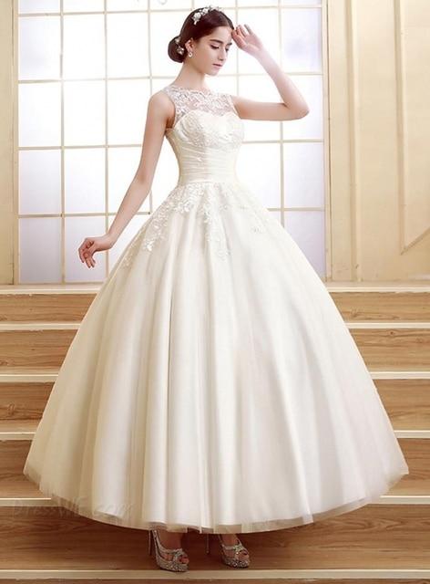 Simple and Elegant Lace Tea Length Plus Size Wedding Dresses Ball ...