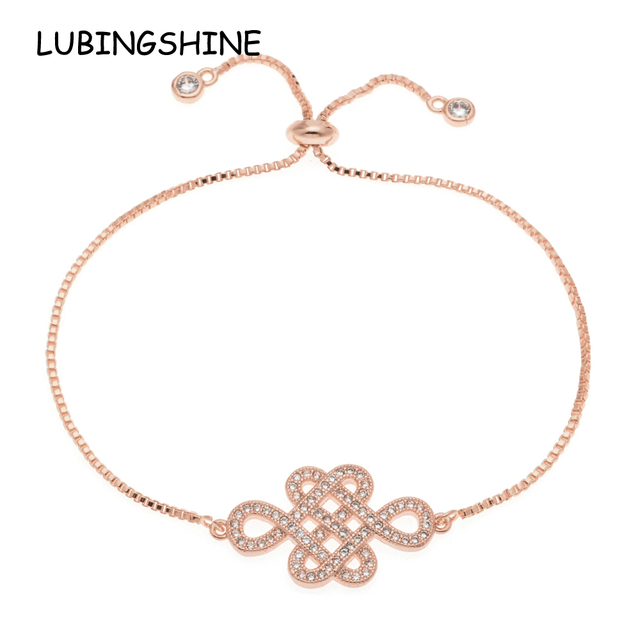 7c37b1adc66f0 US $2.69 40% OFF|LUBINGSHINE Gold Color Zircon Lucky Chinese knot Charms  Bracelets Women Bride Wedding Copper Chain Luxury Wristband Jewelry-in  Charm ...