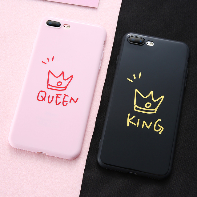 factory price 0ddec 6f287 US $3.91 |For iPhone 6 6S 7 8 Plus Case Silicone Cute Couple Queen King  Pattern Fashion Phone Case For iPhone X 10 6 S Plus Cover Girl Boy-in  Fitted ...