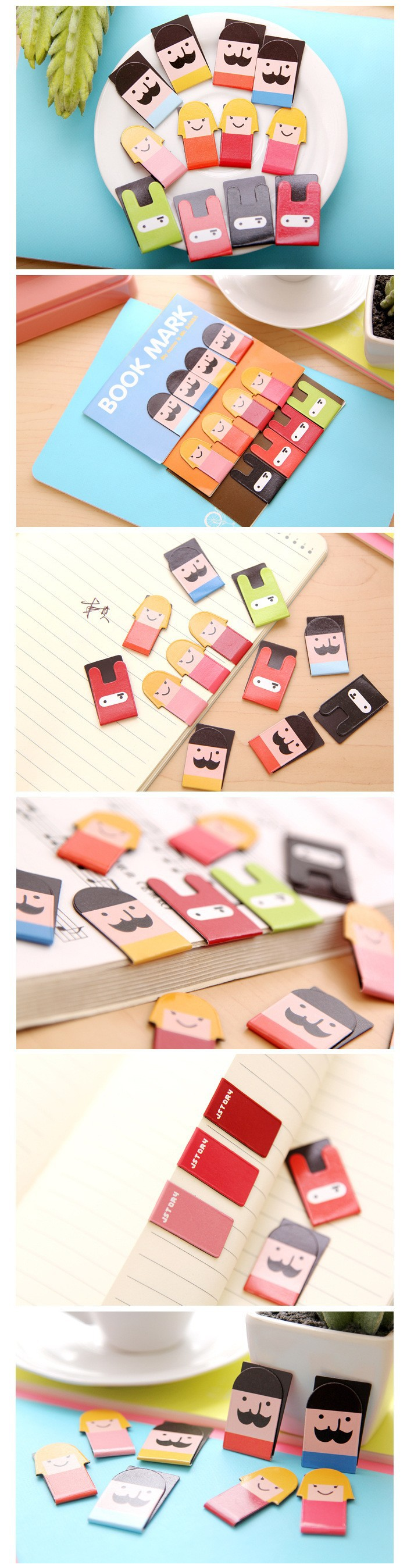Cute Cartoon Kawaii Magnetic Bookmark Girl / Mustache / Ninja Bunny