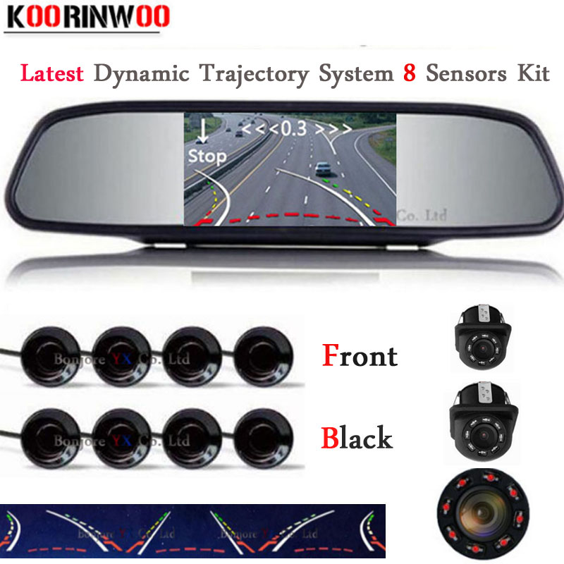 цена на Koorinwoo Car Parktronic Dynamic Trajectory Front Cam Car Rear view Camera 4.3/5 inch Monitor Car Parking Sensors 8 Video System