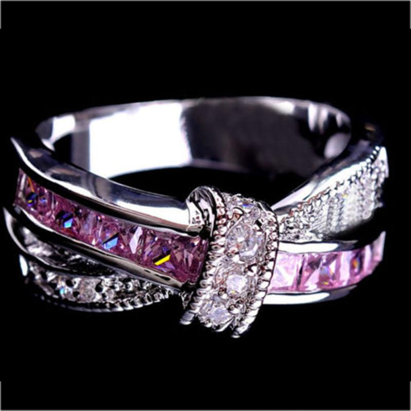 Luxury Gem Cross Finger Ring For Lady Pave CZ Gem Hot Princess Wedding Engagement Ring Purple Pink Color Jewelry
