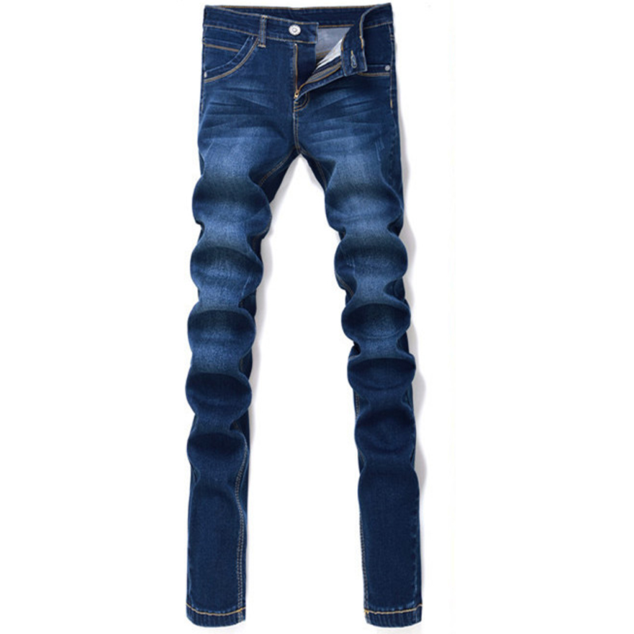 Slim Looking Black Male Jeans Solid Pencil Pants Men Casual Wear Hot Sale Fashion Style Full Length Midweight Zipper Fly Cozy